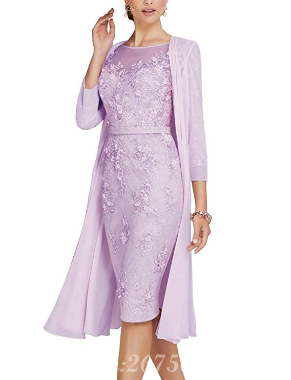 Fashion Two Pieces Plus Size Mother of The Bride Dresses Full Sleeve Knee Length Formal Party Dresses in Mother of the Bride Dresses from Weddings Events