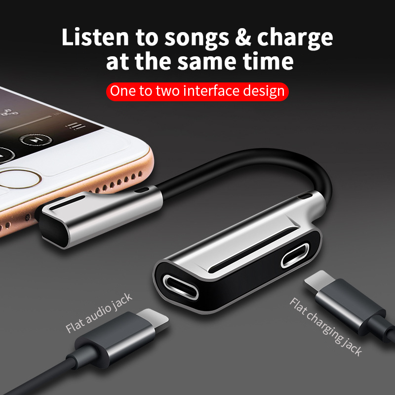 Audio Adapter For Apple 7 Earphone 3.5mm Adapter Cable, Dual Lightning Headphones Charging Song Listening Mobile Pho