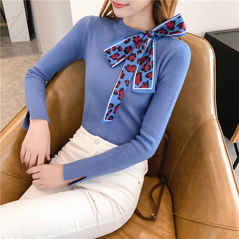 Women Knit Sweater Pullover Autumn Winter Clothes New Leopard Bow Tie Slim Pull Knitwear Sweater Jumper Long Sleeve Female Tops 13