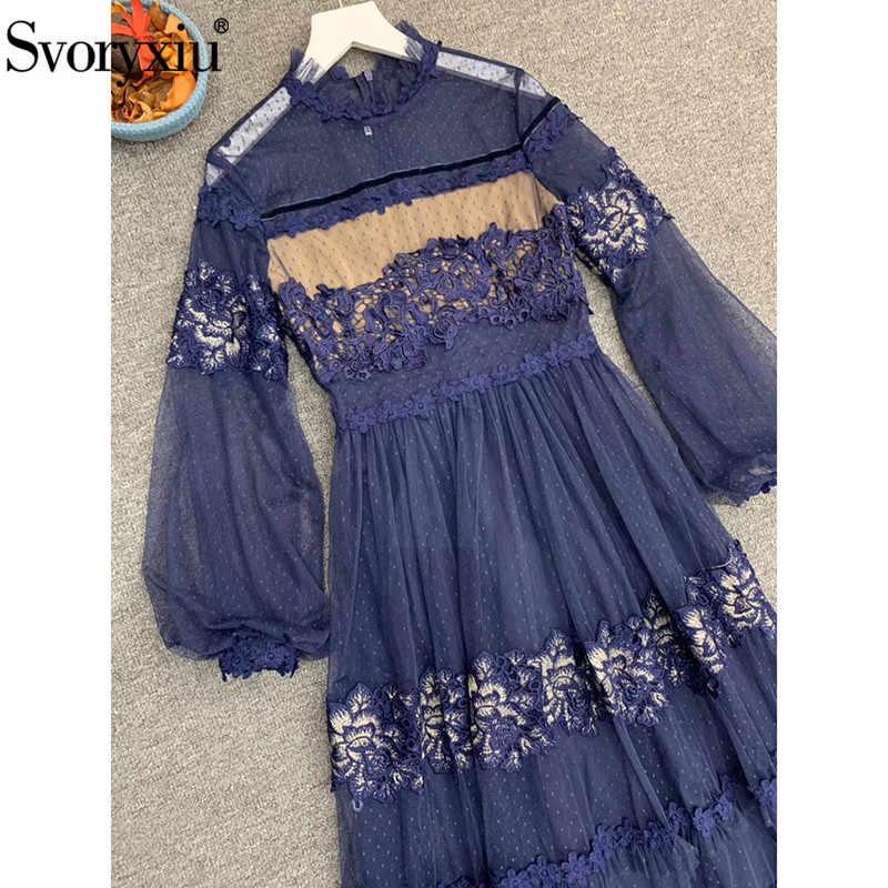 Svoryxiu projektant niestandardowy jesień siatkowy haft niebieski długa sukienka damska bufiaste rękawy uciekają Polka Dot eleganckie sukienek