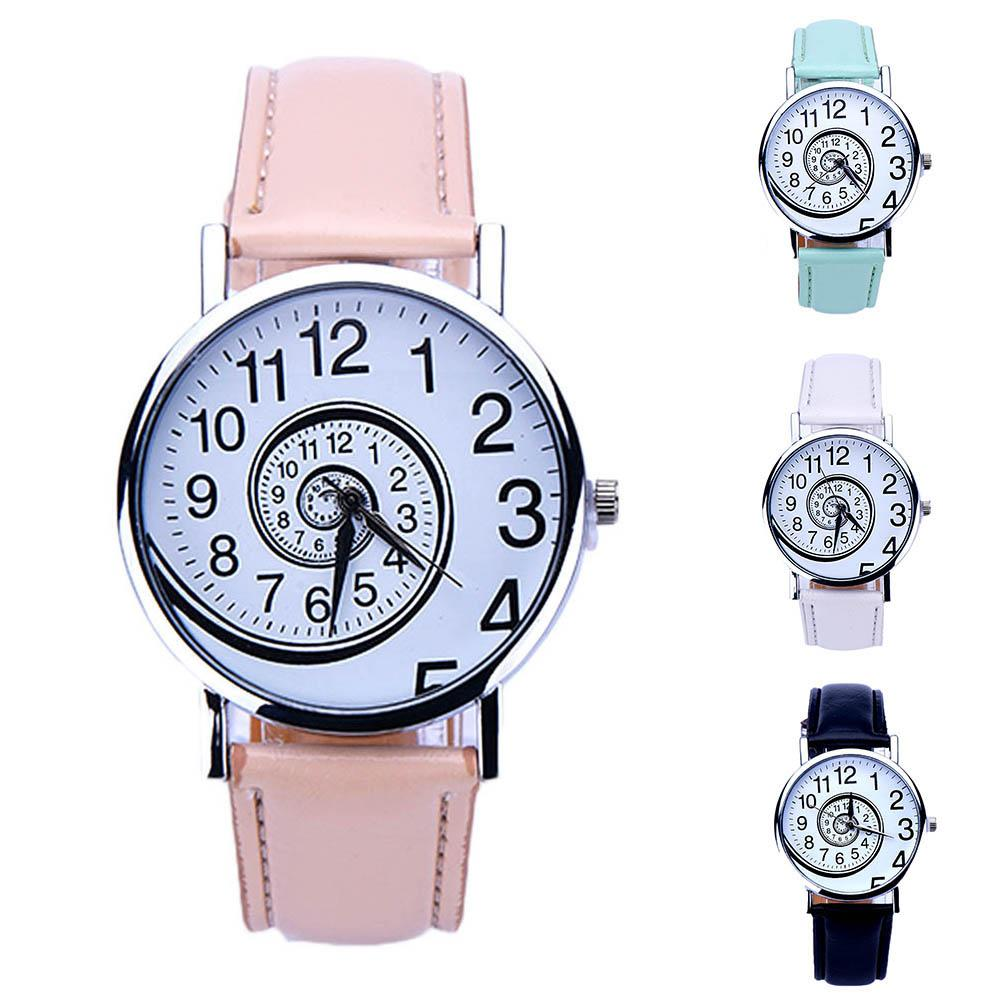 Fashion Unisex Swirl Pattern Round Dial Faux Leather Band Analog Quartz Watch All-match Wrist Jewelry Suitable For Party Daily
