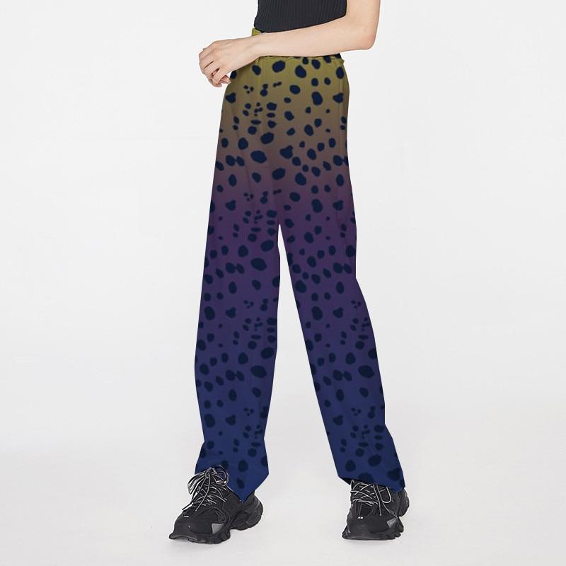 Focal20 Streetwear Colorful Leopard Printed Women Pants Elastic Waist Wide Leg Female Trousers Casual Loose Autumn Lady Bottoms 1
