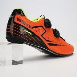 Šantić męska jazda na rowerze drogowego buty z włókna węglowego dolnej części światła buty na rower buty rowerowe oddychające Annular wyrównanie rozmiar 6.5 9.5 w Buty rowerowe od Sport i rozrywka na