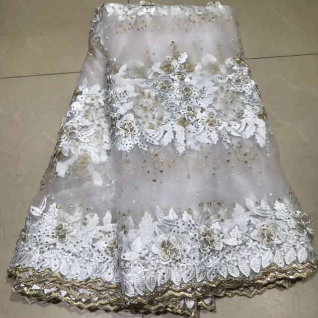 The Latest African Lace Fabrics High Quality 2019 Tulle French Lace Pearls Fabrics 3D Embroidered African Nigerian Lace Fabric F