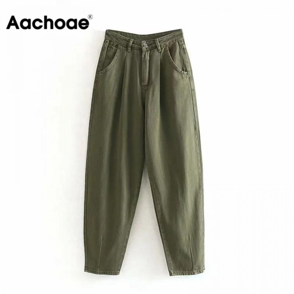 Special Section Aachoae Women Streetwear Pleated Mom Jeans High Waist Loose Slouchy Jeans Pockets Boyfriend Pants Casual Ladies Denim Trousers Distinctive For Its Traditional Properties