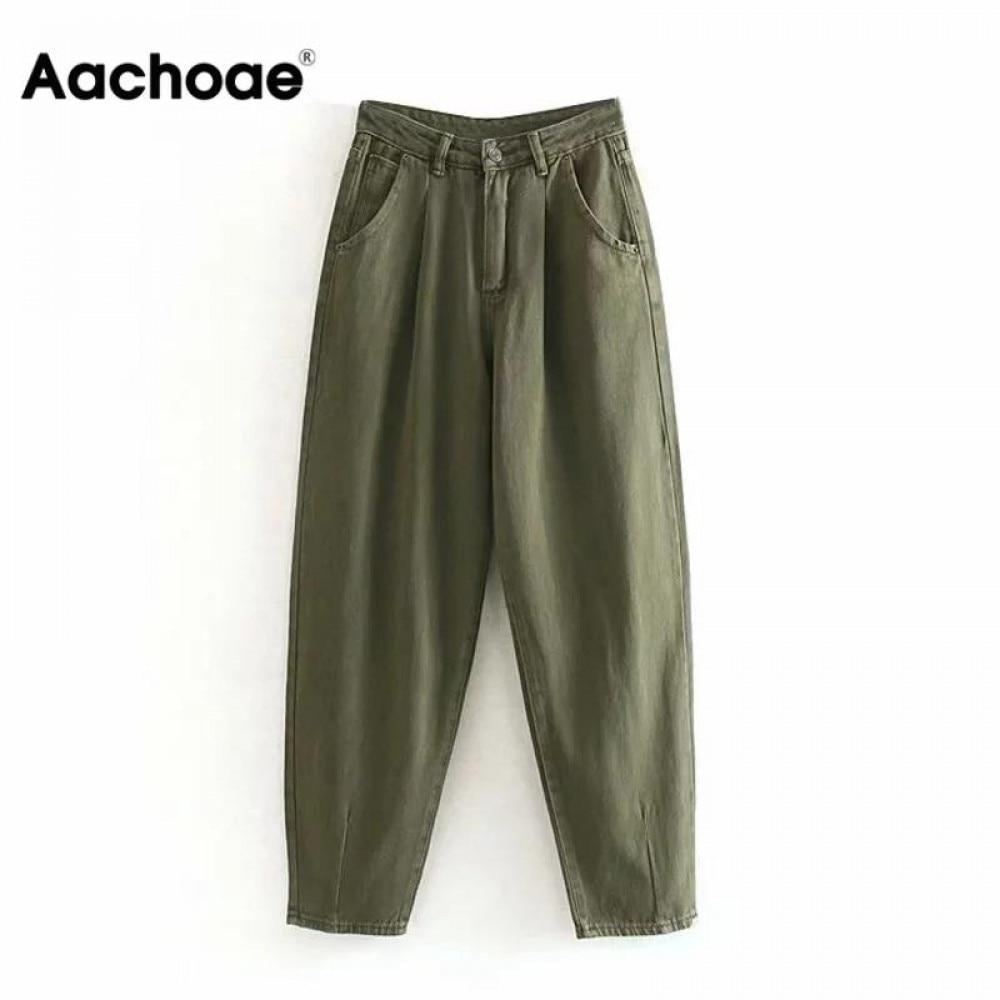 Aachoae Women Streetwear Pleated Mom Jeans High Waist Loose Slouchy Jeans Pockets Boyfriend Pants Casual Ladies Denim Trousers 2