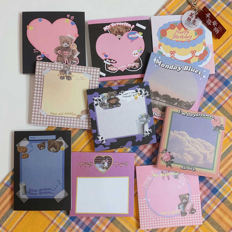 50 Pagina 'S Leuke Pluche Beer Memo Pad Kawaii Briefpapier N Keer Memoblokjes Draagbare Notepad School Office Supply Papeleria Gift