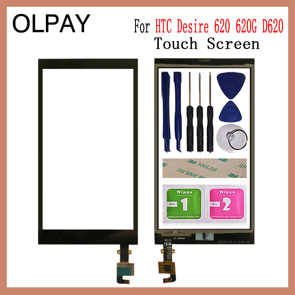 OLPAY 5.0'' Mobile TouchScreen For HTC Desire 620 620G D620 Touch Screen Digitizer Sensor Outer Glass Lens Panel Replacement