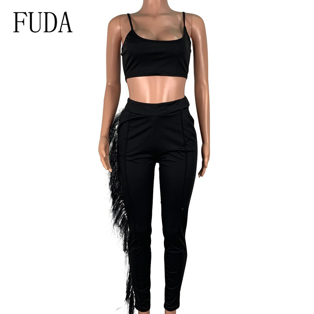 FUDA Women Sexy Bodycon Two Pieces Sets Vintage Burr Vest Tights Rompers Elegant Sleeveless Hollow Out Slim Pockets Playsuits in Jumpsuits from Women 39 s Clothing