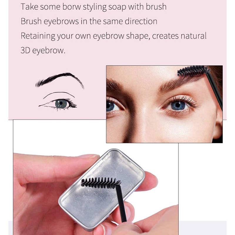 3D Waterproof Feathery Brows Eyebrow Shaping Makeup Gel Soap Long Lasting Eyebrow Setting Brushed-Up Brow Defining Tool Kits