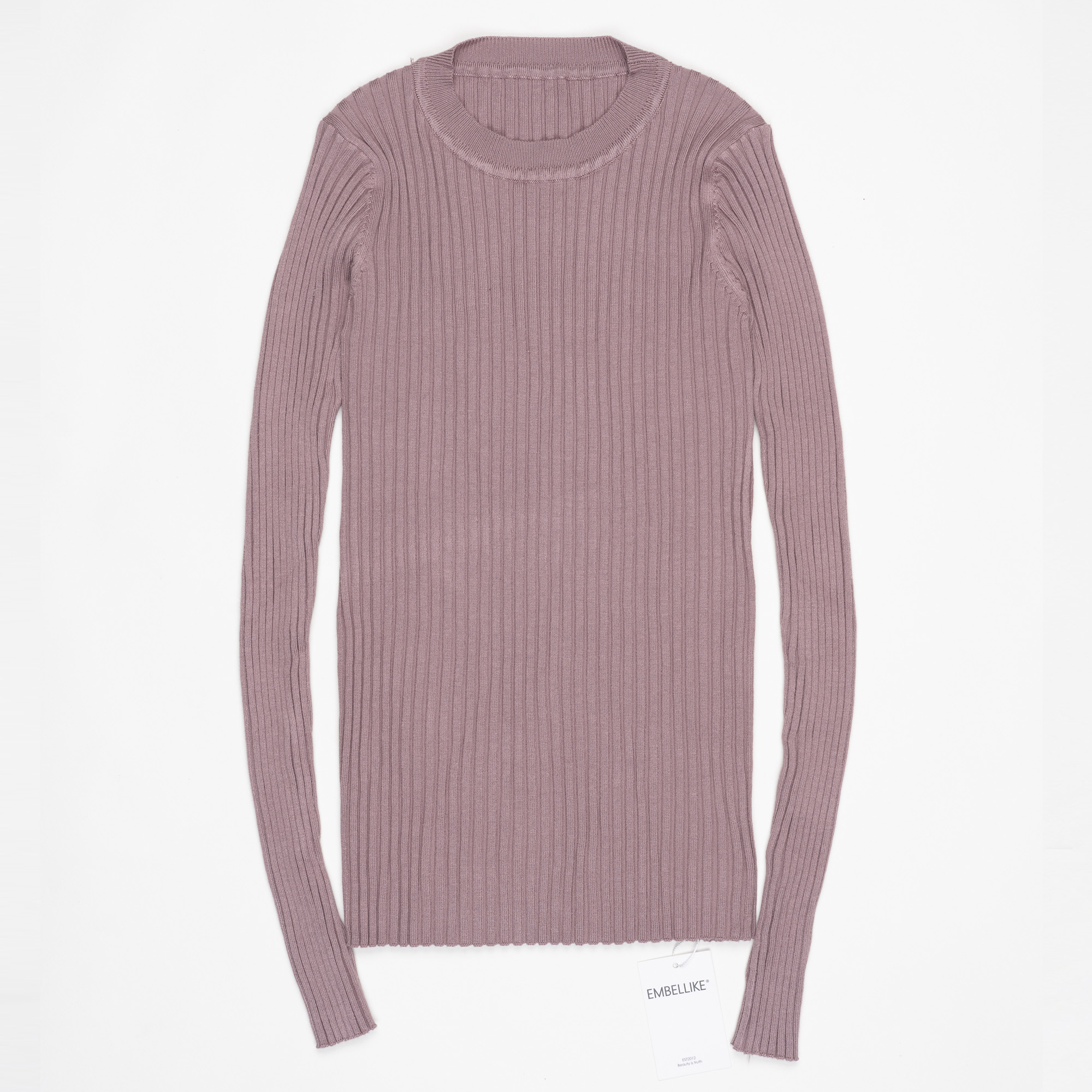 Women Sweater Pullover Basic Ribbed Sweaters Cotton Tops Knitted Solid Crew Neck With Thumb Hole 16