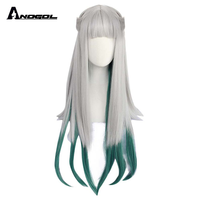ANOGOL Jibaku Shounen Hanako Kun Nene Yashiro Wig Long Straight Silver Green Gradient Synthetic Cosplay Wigs For Women