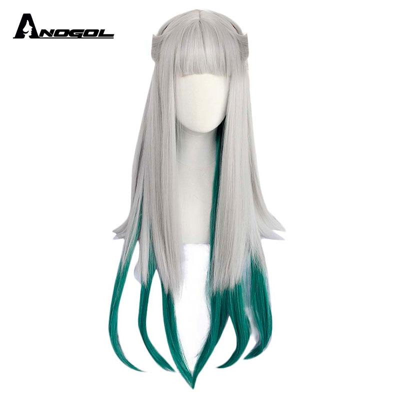 ANOGOL Jibaku Shounen Hanako Kun Nene Yashiro Wig Long Straight Silver Green Gradient Synthetic Cosplay Wigs For Women