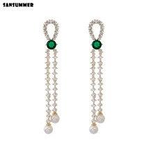 Sansummer 2019 New Hot Fashion S925 Needle Pearl Zircon Long Casual Party Dangle Charm Elegant Boho Earrings For Women Jewelry