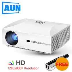 Russian BIG SALE AUN HD Projector F30 Upgrade 6500 lumen, LED Projector GYM Home Theater. 4K 1080P Video for HDMI Port 3D Beamer
