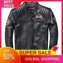 2021 Black Motorcycle Style Genuine Leather Jacket Men Stand Collar Plus Size 4XL Real Thin Sheepskin Spring Slim Fit Biker Coat