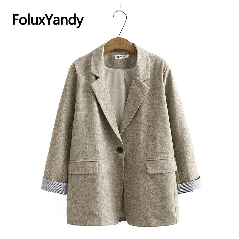 Women's Casual Blazer Spring Autumn Outerwaer Jacket Coat Plus Size Single Button Blazer Gray Black KKFY4990