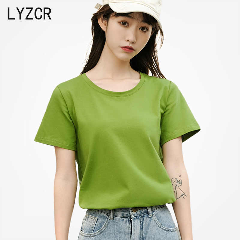 LYZCR Sommer Baumwolle frauen T Shirt Tops 3XL Lose T Shirt Femme O Neck Frauen T Shirt Kurzarm top Tees Frauen Candy Farbe