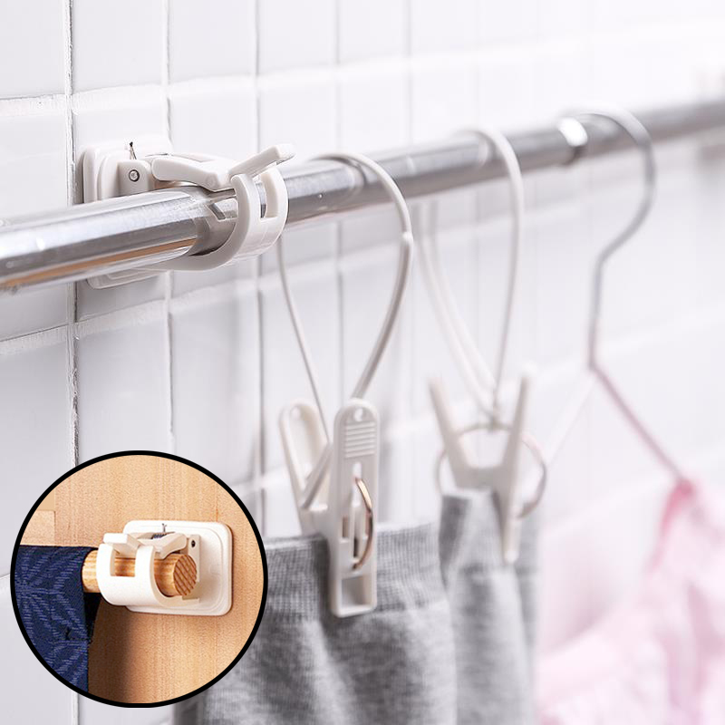2pcs Self Adhesive Curtain Rods bracket Hanger Crossbar Curtain Clips Wall Hooks