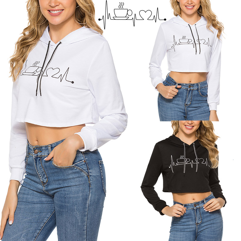 Fashion Autumn Spring Womens Print Long Sleeve Pullover Hooded Sweatshirt Short Tops Teens Youth Dancer Clothing