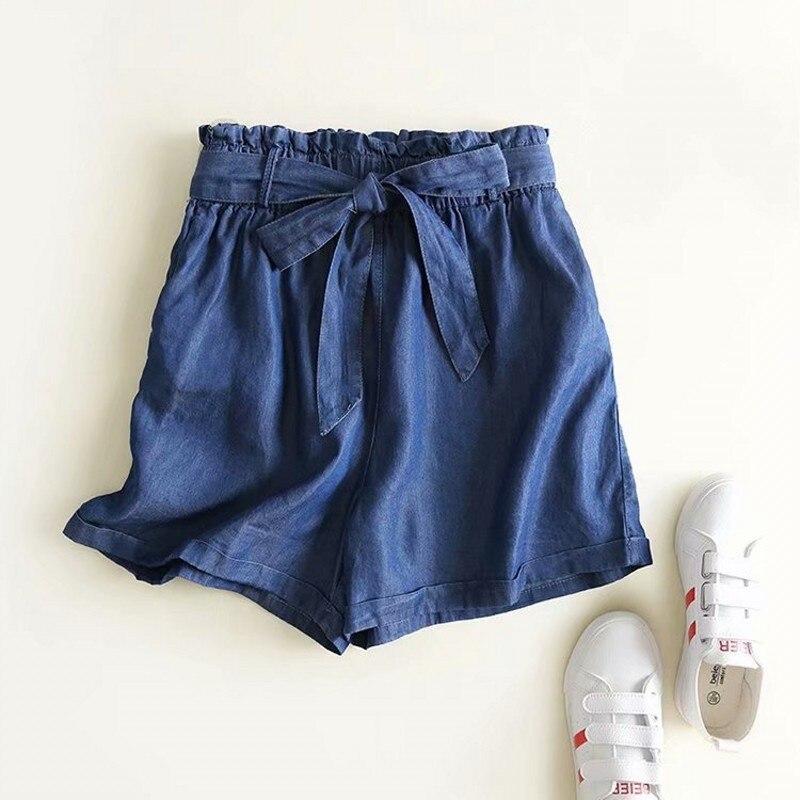 Summer 2020 New Elastic Waist Lace Up Denim Shorts Women Washed Thin Wide Leg Short Pants Street Style Fashion Shorts Femme