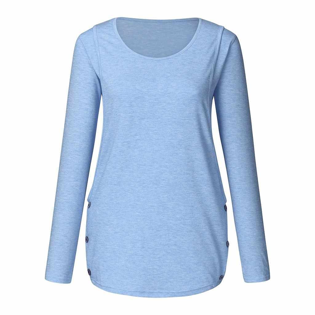 Women Maternity Clothes Breastfeeding Tee Nursing Top Long Sleeve Tunic T-Shirts