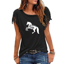 Born To Ride Horse Letter Women Tshirt Summer Funny Tee Shirt Casual Women Tops