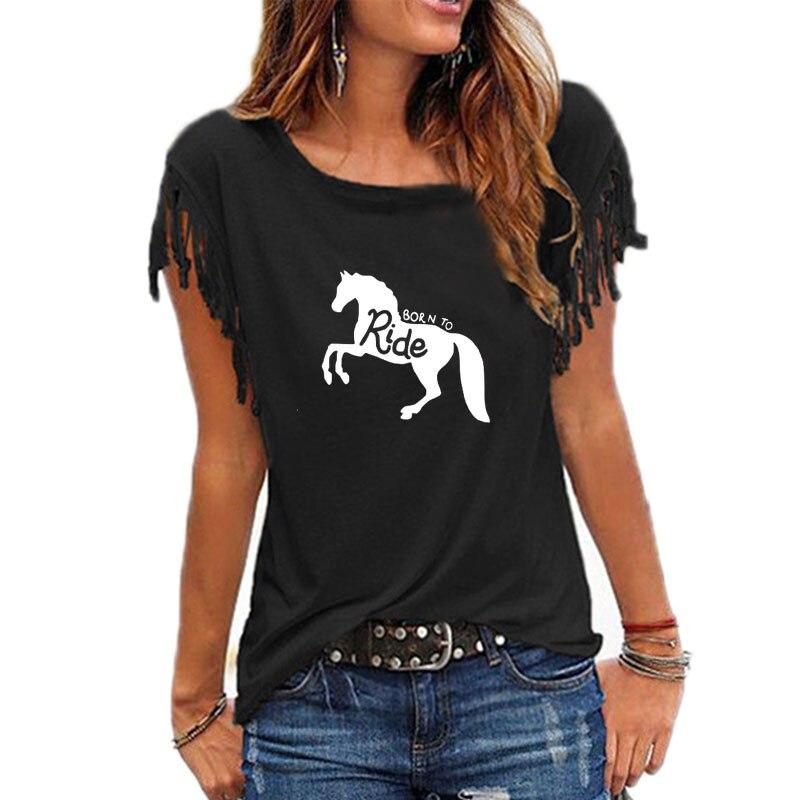 Feminina para Passear a Cavalo Engraçada de Verão Camiseta Casual
