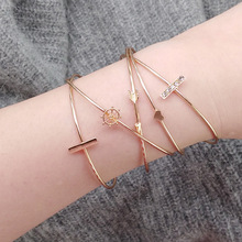 5Pcs/Set Fashion Bohemia Heart Anchor Bar Arrow Charm Bracelet Bangle For Women Gold Bracelets Jewelry Accessories