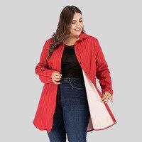 Plus Size Long Coats For Winter For Women Striped Print Thick Warm Fur Women Coat Loose Big Size Ireegular Coat Women Clothes