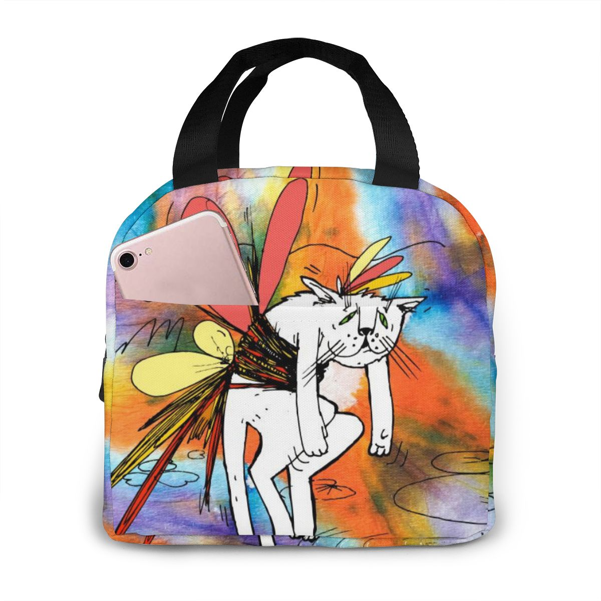 NOISYDESIGNS Insulated Lunch Bag Thermal Graffiti Cats Cute Tote Bags Cooler Picnic Food Lunch Box For Kids Women Girls Ladies
