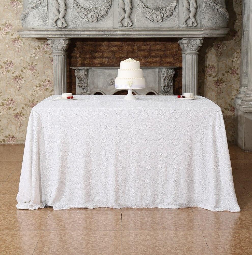 SequinTablecover50x72-InchWhiteGlitterTablecloth DessertTableTableclothsWeddingDecor-M0928