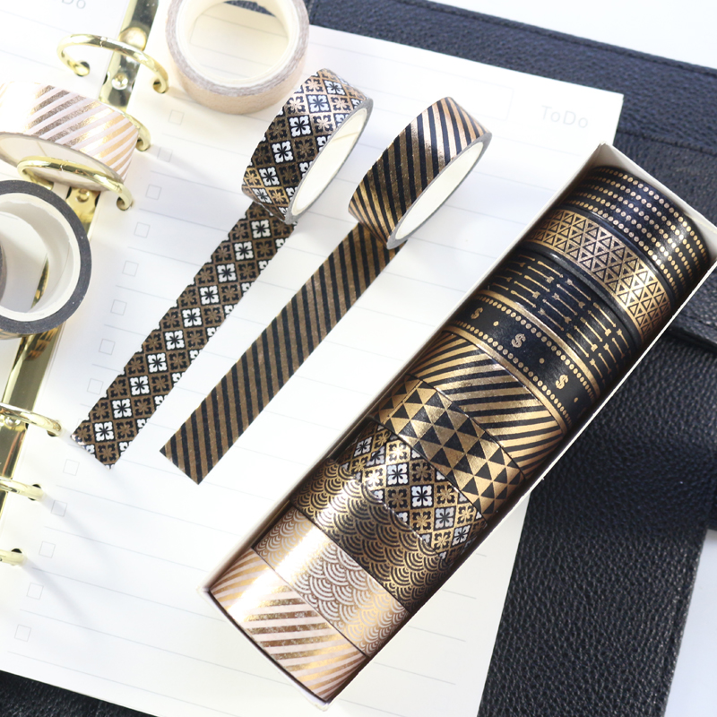 Domikee Creative Black Gold Foil Decoration Washi Tape Set School Student DIY Diary Greeting Card Masking Tapes Stationery 10pcs