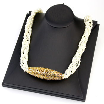 Sunspicems 2020 Handwoven Morocco Beads Chain Choker Necklace Gold Color Simulated Pearl African Wedding Jewelry Bride Gift 1