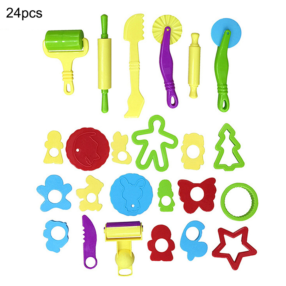 24 Pcs Tools Clay Party Pack Tool Set Cutters Molds Rollers Play Accessories