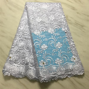 Image 5 - Free shipping African Lace Fabric, 2019 high quality French Lace Fabric For Wedding dress Nigerian embroidery Rhinestones Lace