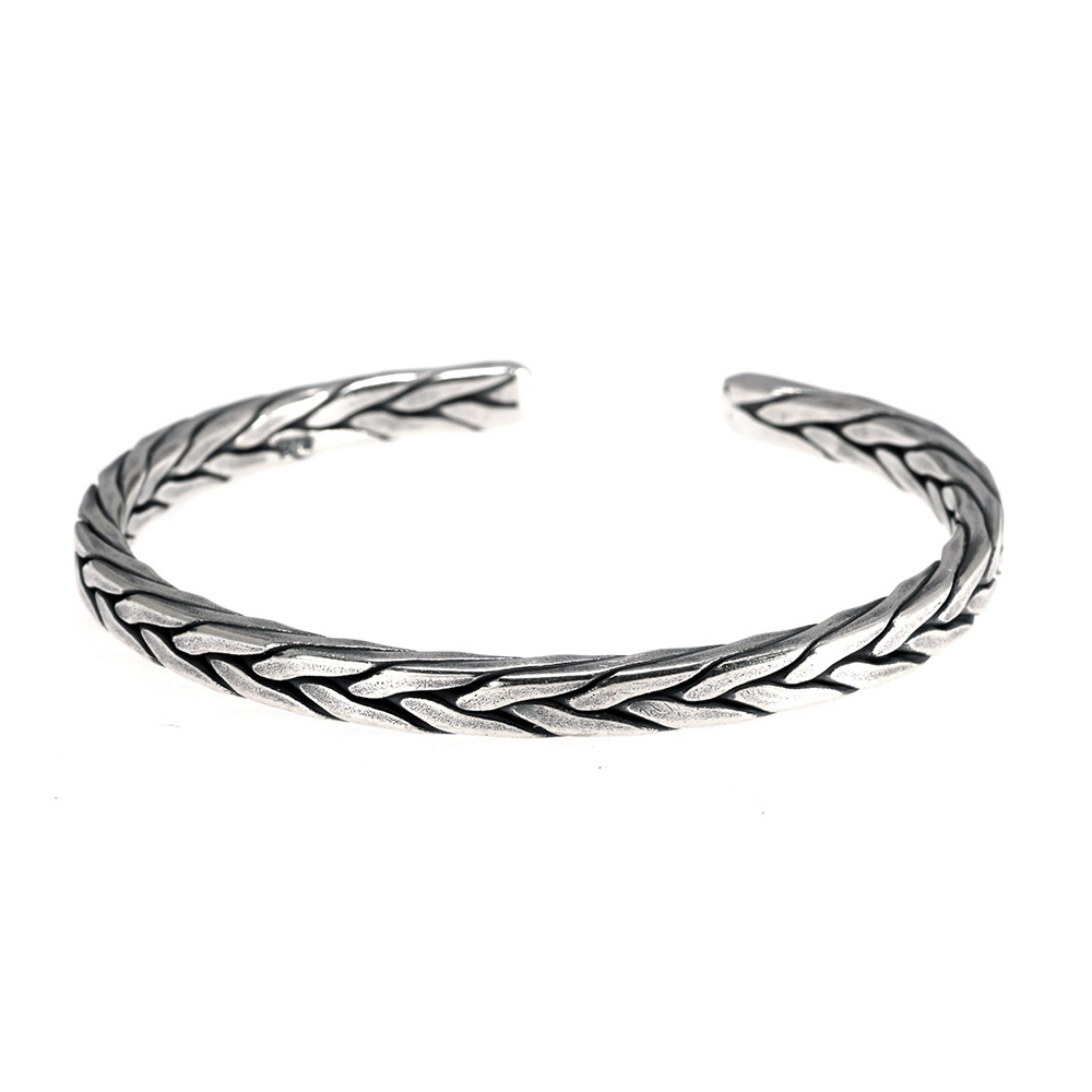 Bracelet viking torsion Rétro argent  6