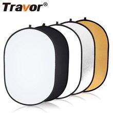 Travor 60x90cm Oval reflektör taşınabilir fotoğraf stüdyosu fotoğraf katlanabilir ışık reflektörü açık stüdyo reflektör
