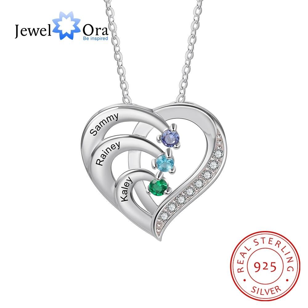 Женское Ожерелье с сердечком JewelOra, ожерелье из стерлингового серебра 925 пробы с гравировкой из камня на заказ