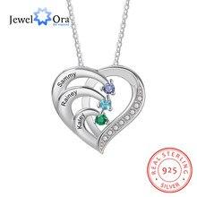 Jóias 925 prata esterlina personalizado nome da família coração colares para mulheres personalizado birthstone gravura mães colar
