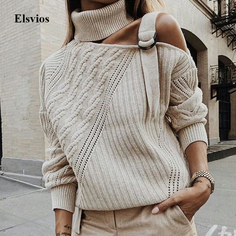 Women Patchwork Turtleneck Sweater Sexy Off Shoulder Buckle Knitted Pullover Autumn Winter Long Sleeve Jumper Tops Pull Knitwear on AliExpress
