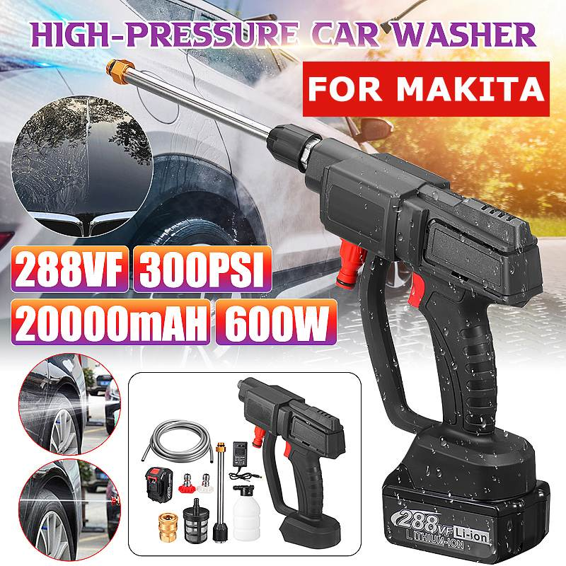 600W 300PSI 20000mAH Wireless High Power Washer Washing Machine Car wash Water Gun For MAKITA Battery car accessories