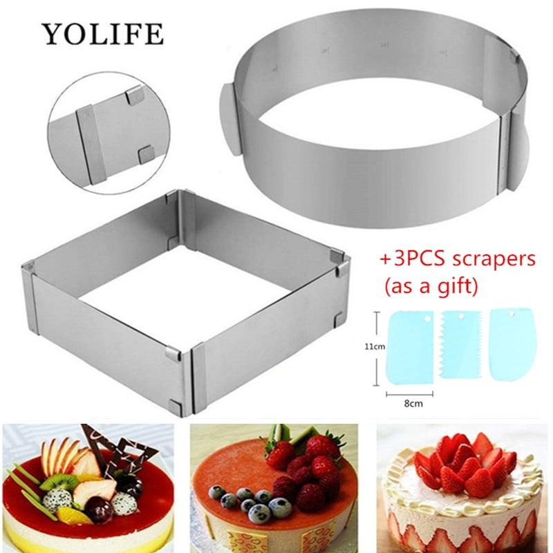 قابل للتعديل الفولاذ المقاوم للصدأ قالب الكعكة كوكي فندان موس حلقة الخبز أداة قالب الكعكة المعجنات اكسسوارات أدوات تزيين الكعكة|mold tool|cake moldmould cake - AliExpress