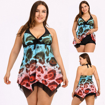 Women Butterfly Print Tankini Set Two Piece Swimsuit Plus Size Bikini Swimwear High Waist Beachwear Bandage Bandeau Halter Top plus size backless tiered tankini set