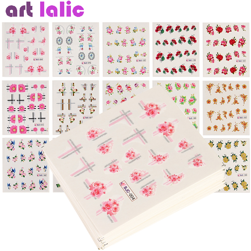 55pcs Flower Series Nail Art Water Transfer Stickers Set Full Wraps Nail Tips DIY Mixed Design Decal Slider Wraps Decor Manicure