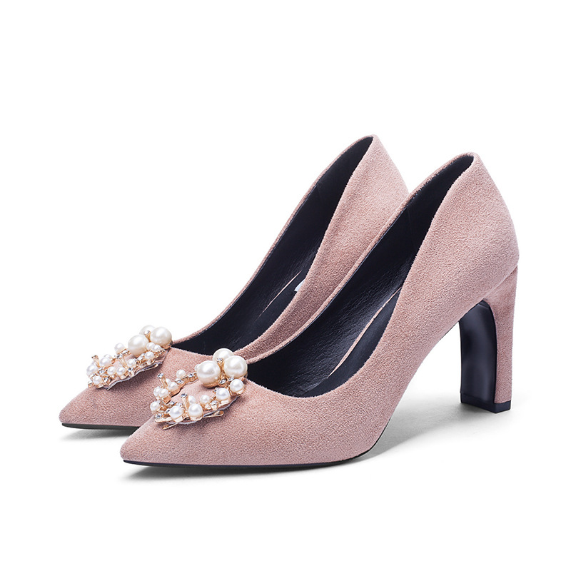 Women Fashion Pump Sweet Woman Thick High Heels Ankle Strap Flock Female Platform Mary Jane Women Shoes Ladies Zapatos De Mujer