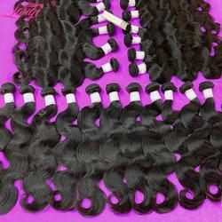 Lanqi оптовая продажа объемная волна 3 4 пряди 100% человеческие волосы пряди предложения перуанские бразильские вплетаемые волосы пряди челове...