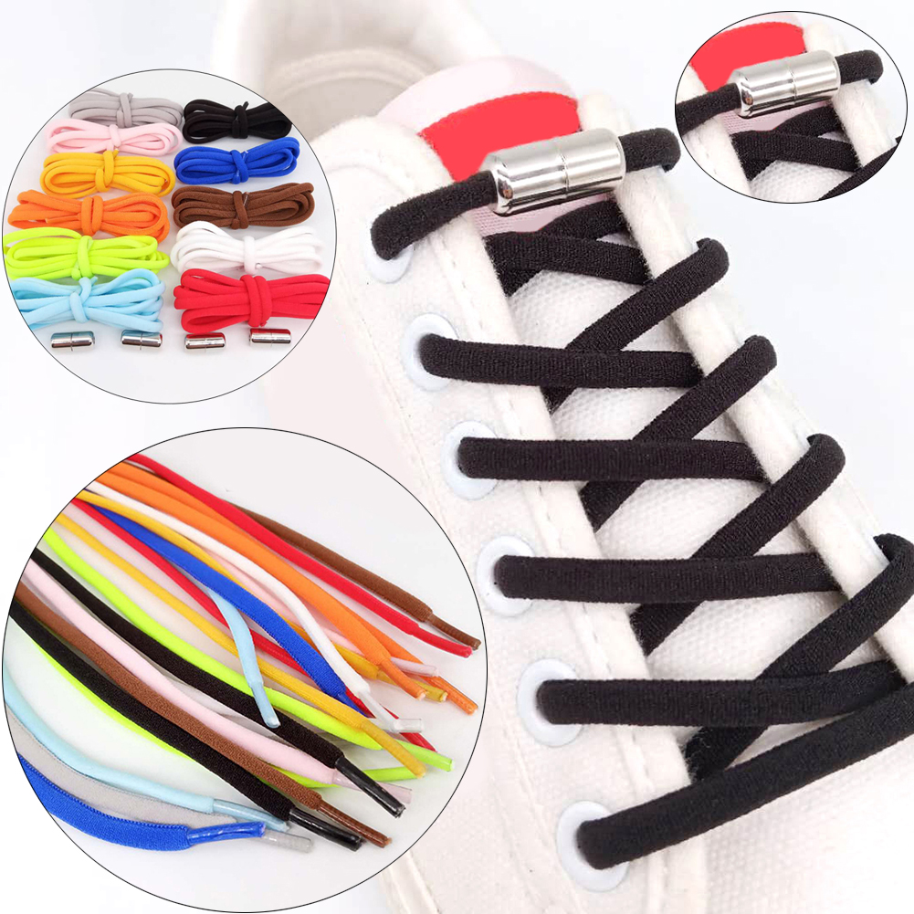 1Pair Locking Shoelaces Quick Lazy Shoe Laces Polyester Elastic Classic Shoelace Outdoor Sport Sneakers Boots Shoes String Solid