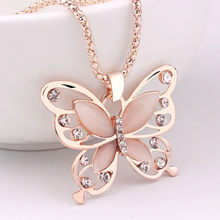 Women necklace stainless steel Fashion Women Rose Gold Opal Butterfly Charm Pendant Long Chain Necklace Jewelry collares(China)