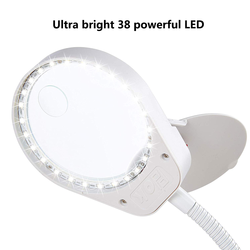 Tools : 8X15X LED Magnifying Lamp Metal Clamp Swing Arm Desk Lamp Stepless DimminMagnifier LED lamp 3X10X100mm Diameter Lens White